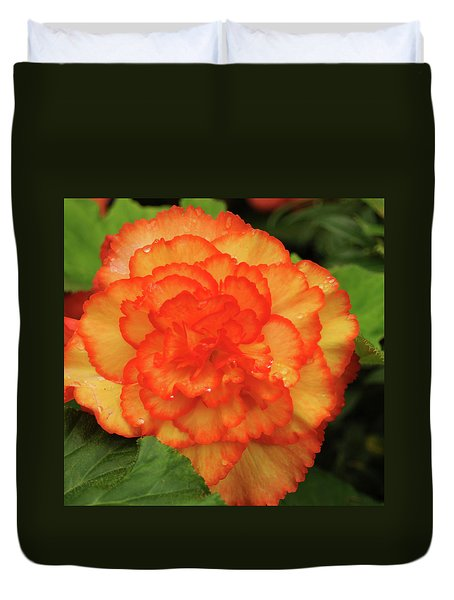Orange Begonia Duvet Cover