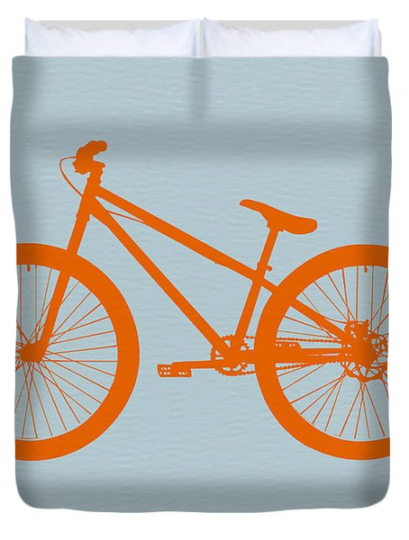 Orange Bicycle  Duvet Cover by Naxart Studio