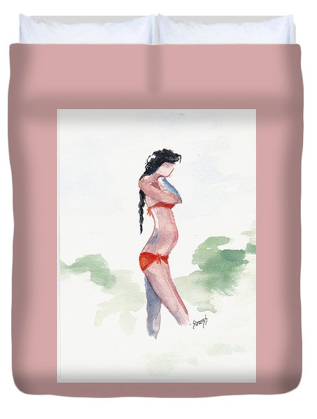 Orange Bikini Duvet Cover