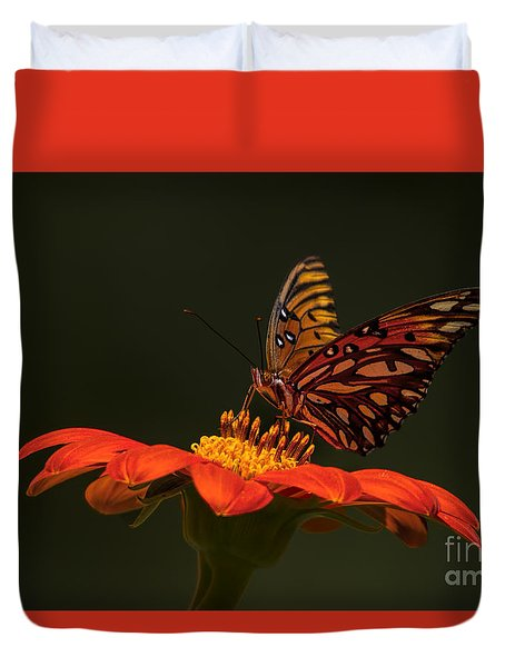 Duvet Cover featuring the photograph Orange Bliss by Barbara Bowen