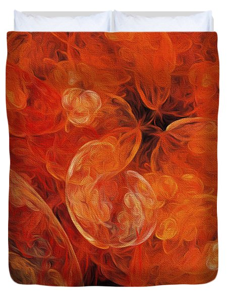 Duvet Cover featuring the digital art Orange Blossom Abstract by Andee Design