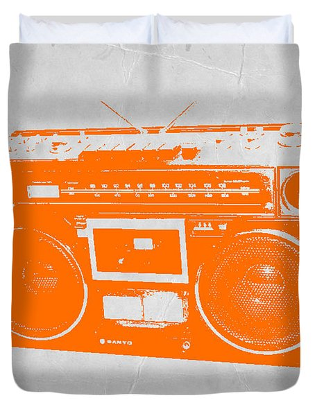 Orange Boombox Duvet Cover by Naxart Studio