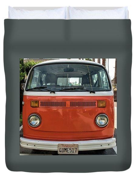 Orange Bus Duvet Cover