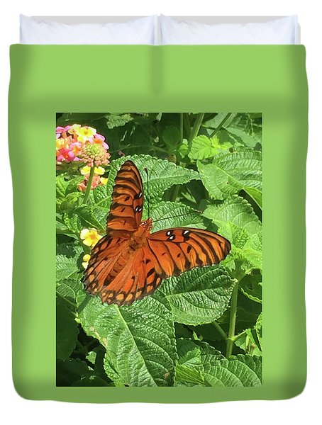 Orange Butterfly   Duvet Cover