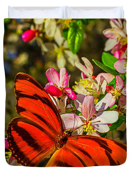 Orange Butterfly On Flowering Tree Duvet Cover