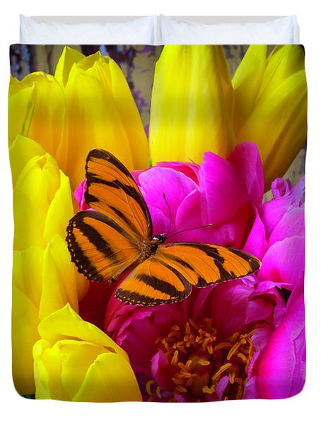 Orange Butterfly On Peony Duvet Cover