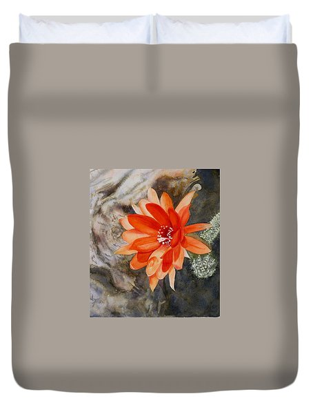 Orange Cactus Flower II Duvet Cover