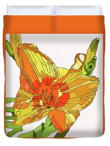 Orange Canna Lily Duvet Cover
