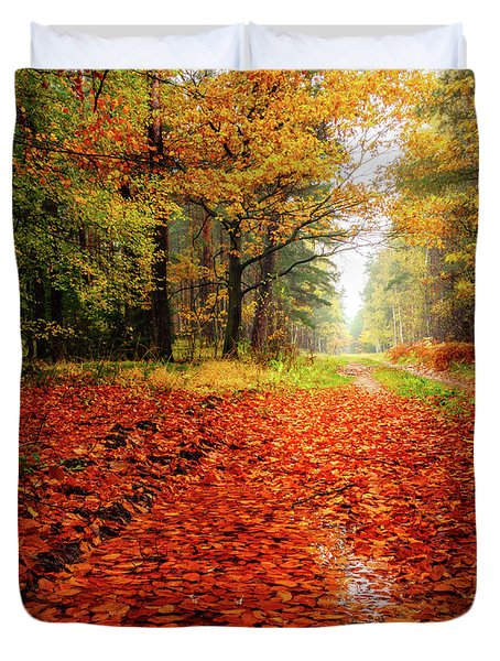 Duvet Cover featuring the photograph Orange Carpet by Dmytro Korol