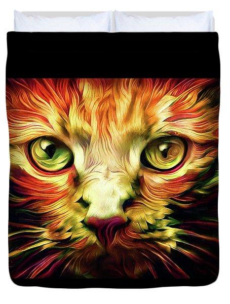 Orange Cat Art - Feed Me Duvet Cover