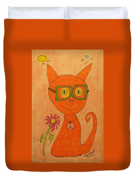 Orange Cat With Glasses Duvet Cover