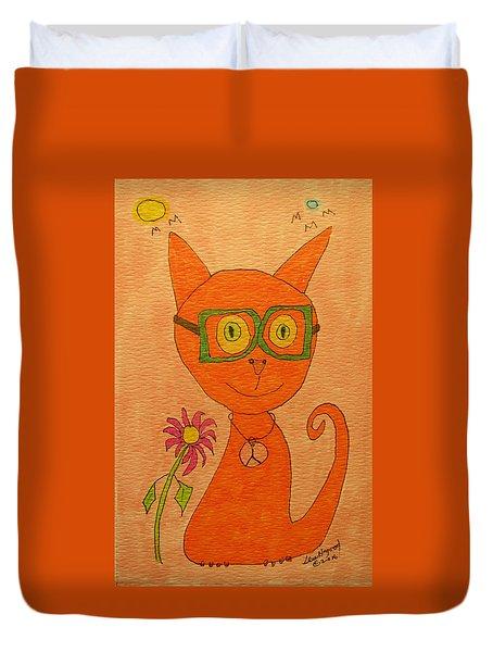 Orange Cat With Glasses Duvet Cover