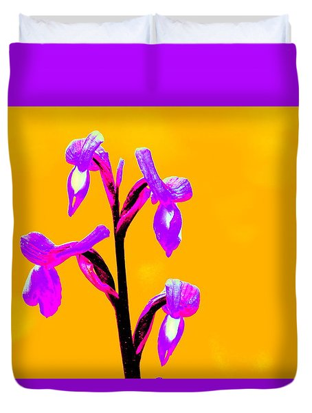 Orange Champagne Orchid Duvet Cover