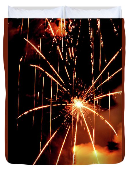Duvet Cover featuring the photograph Orange Chetola Fireworks by Meta Gatschenberger
