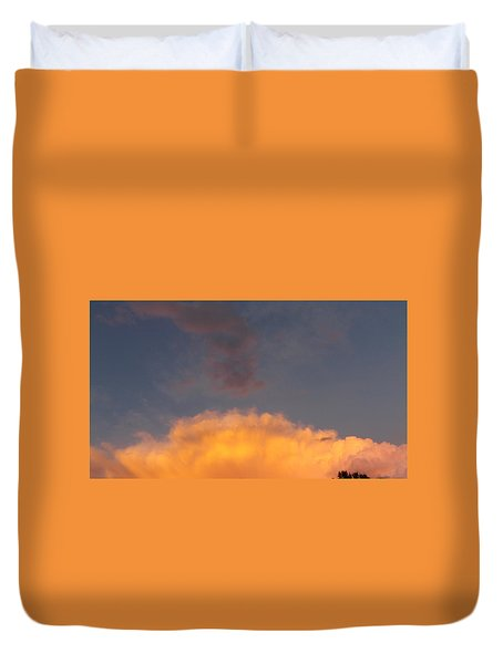Orange Cloud With Grey Puffs Duvet Cover