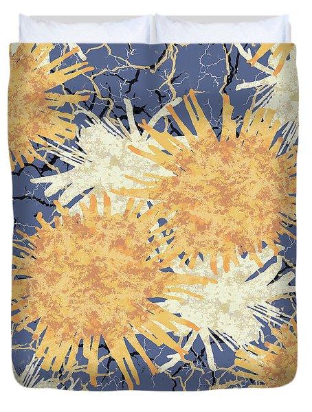 Orange Cobwebs Pattern Duvet Cover