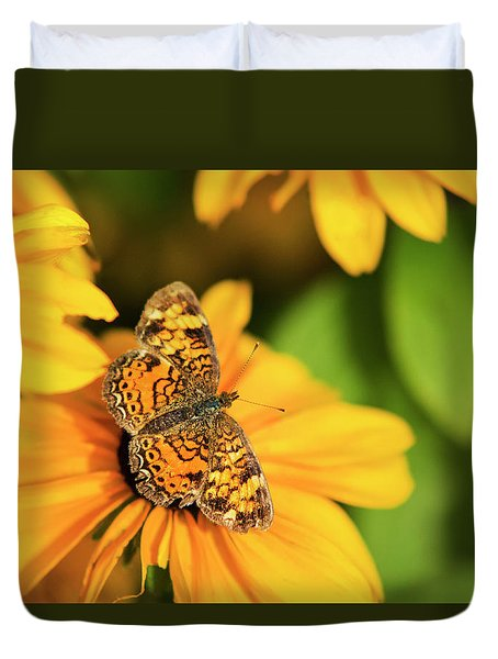 Duvet Cover featuring the photograph Orange Crescent Butterfly by Christina Rollo
