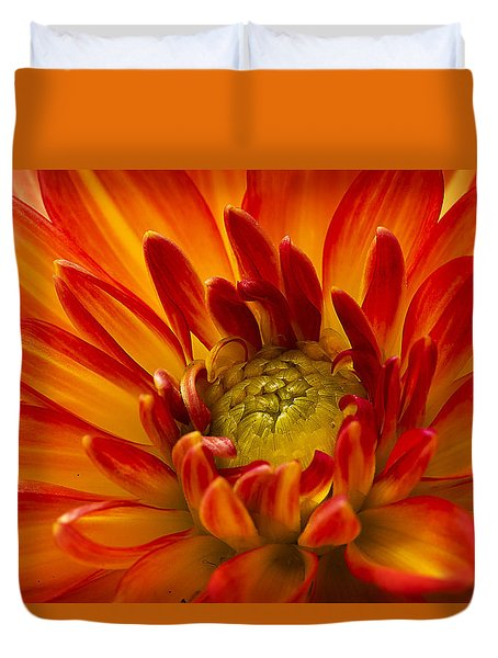 Orange Dahlia Duvet Cover