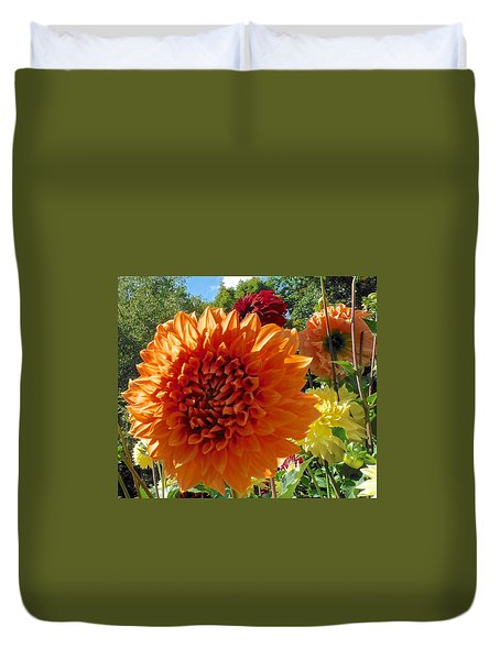 Orange Dahlia Suncrush  Duvet Cover