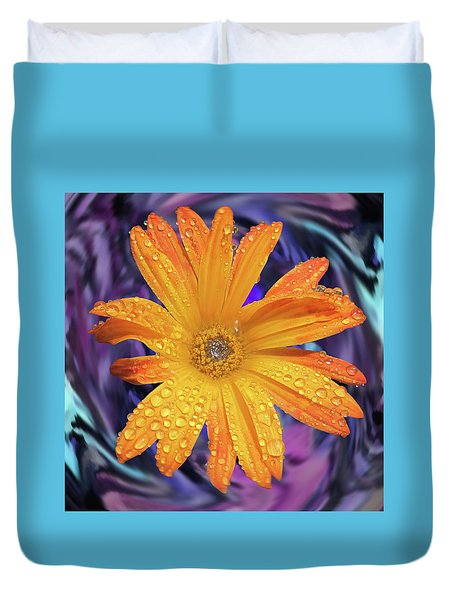 Orange Daisy Swirl Duvet Cover
