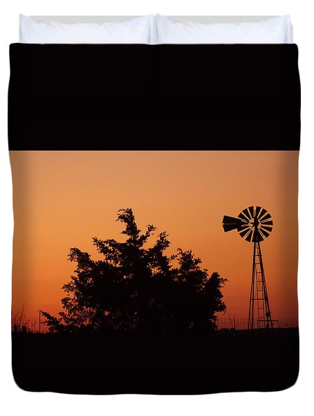 Orange Dawn With Windmill Duvet Cover