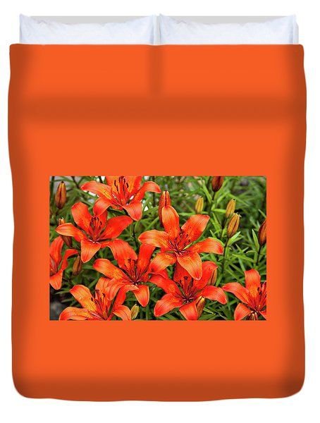 Duvet Cover featuring the photograph Orange Day Lillies by Mary Jo Allen