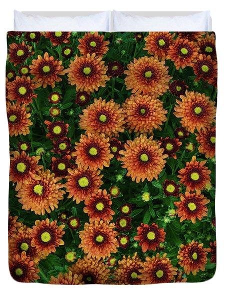 Orange Mums Duvet Cover