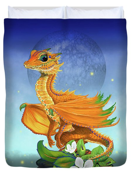 Duvet Cover featuring the digital art Orange Dragon by Stanley Morrison