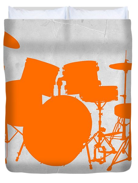 Orange Drum Set Duvet Cover by Naxart Studio