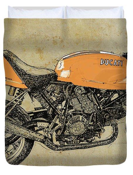 Orange Ducati, Original Handmade Drawing Duvet Cover