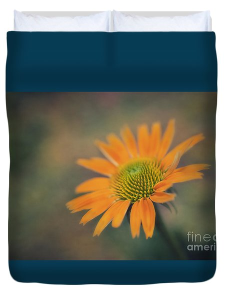 Orange Echinacea Dreams Duvet Cover