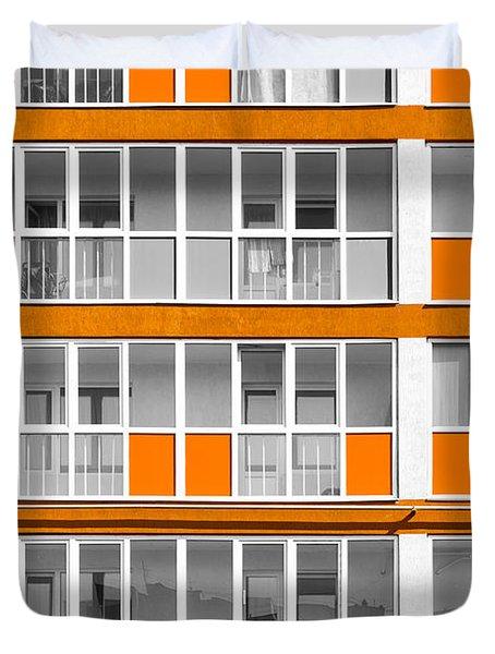 Orange Exterior Decoration Details Of Modern Flats Duvet Cover