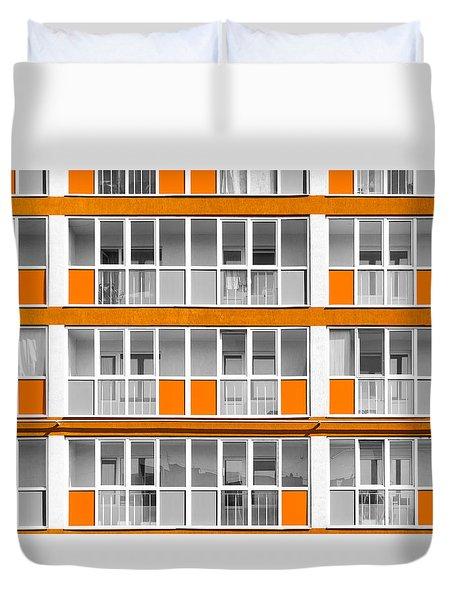 Orange Exterior Decoration Details Of Modern Flats Duvet Cover by John Williams