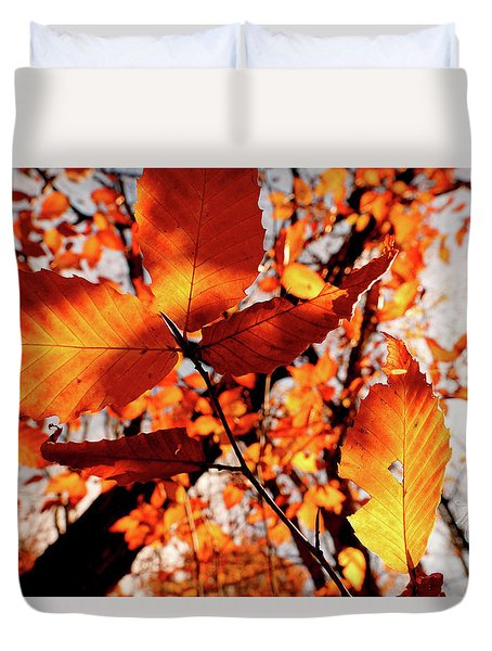 Duvet Cover featuring the photograph Orange Fall Leaves by Meta Gatschenberger