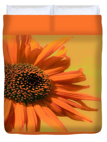 Duvet Cover featuring the painting Orange Flower by Debra     Vatalaro