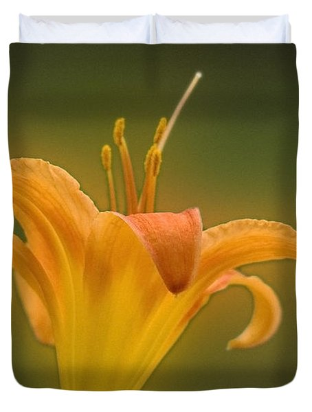 Orange Flower Head  Duvet Cover