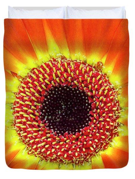 Orange Flower Macro Duvet Cover