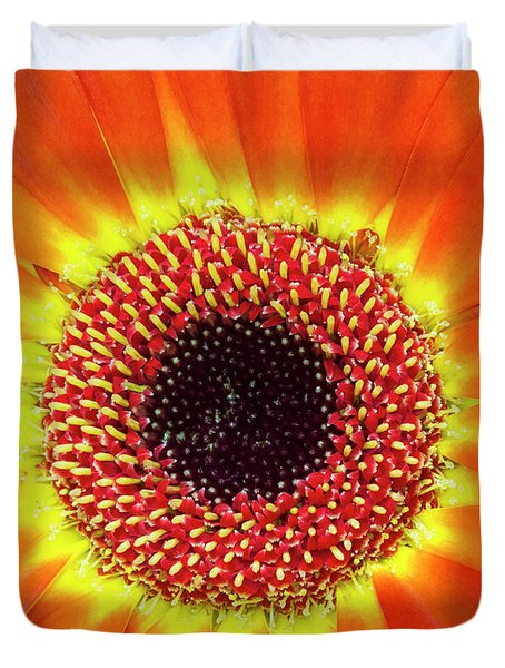 Orange Flower Macro Duvet Cover