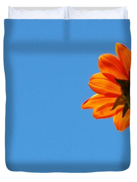 Orange Flower On Blue Sky Duvet Cover