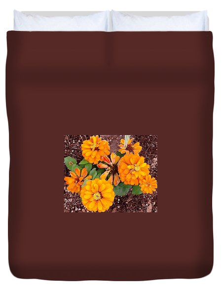 Orange Flowers Duvet Cover by Alohi Fujimoto