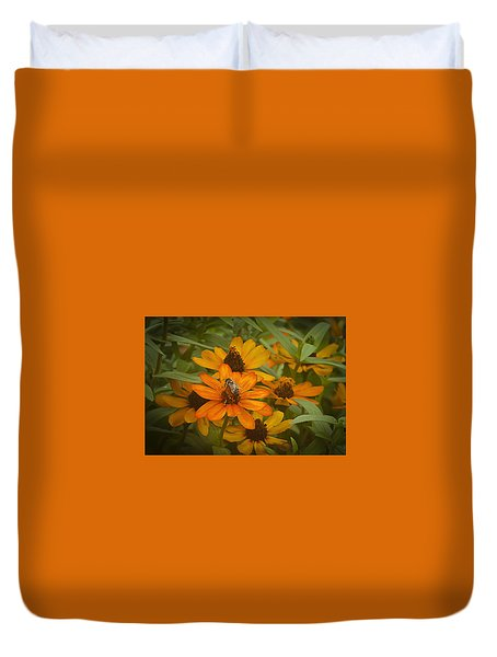 Orange Flowers And Bee Duvet Cover