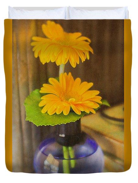 Orange Flowers Blue Vase Duvet Cover