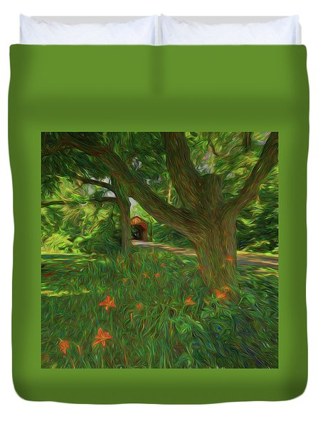 Duvet Cover featuring the photograph Orange Flowers by Lewis Mann