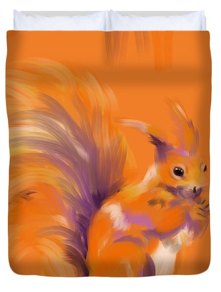 Orange Forest Squirrel Duvet Cover