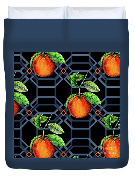 Orange Geometric Duvet Cover