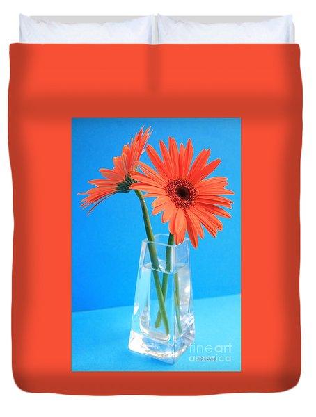 Orange Gerberas In A Vase - Aqua Background Duvet Cover