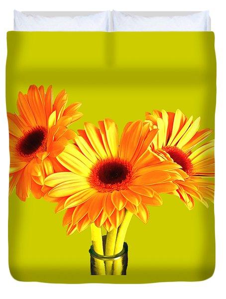 Orange Gerbera's Duvet Cover