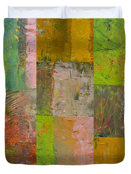 Duvet Cover featuring the painting Orange Green And Grey by Michelle Calkins