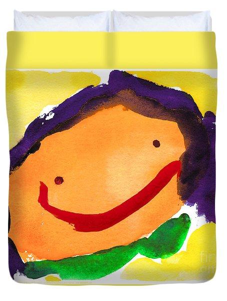 Orange Happy Face Duvet Cover