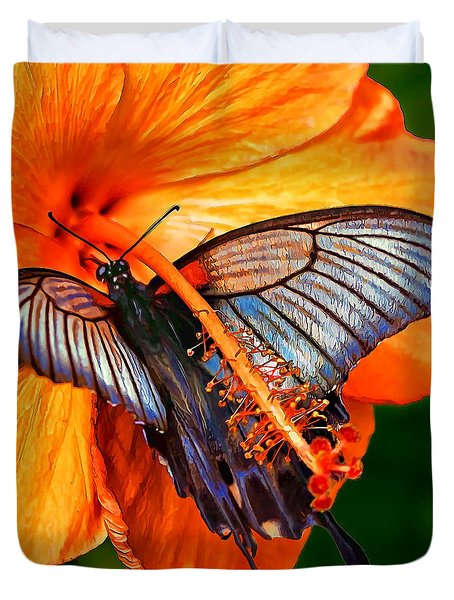 Orange Hibiscus Butterfly Duvet Cover by ABeautifulSky Photography